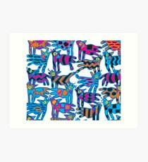 Colorful Abstract Coyote Art Duvet Cover Art Print