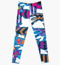 Colorful Abstract Coyote Art Duvet Cover Leggings