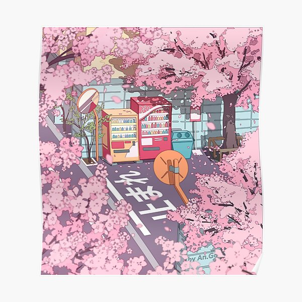 A beautiful aesthetic Tokyo street and  the pink sakura tree blossom Poster