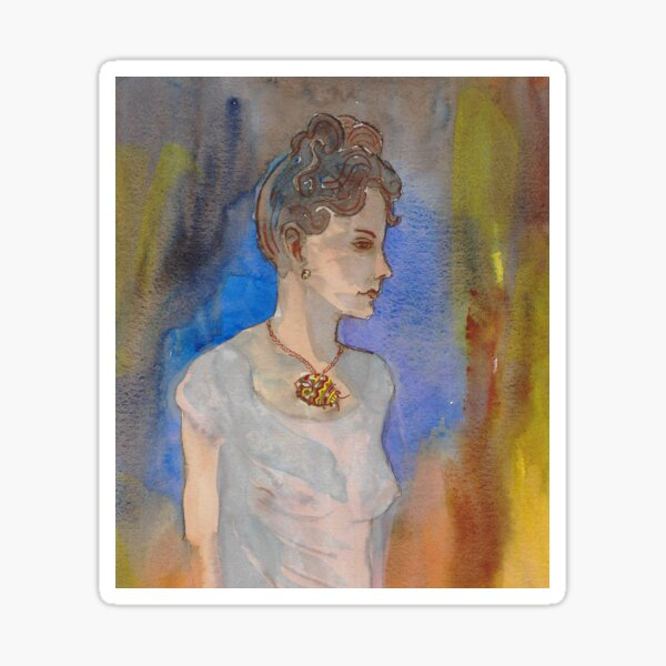 Pablo Picasso Woman In Chemise wearing a picasso bug neckace Sticker