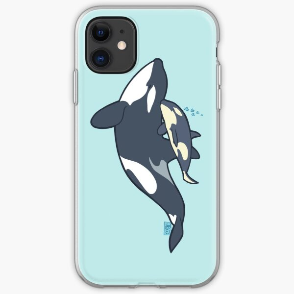 Orca mother and calf iPhone Soft Case