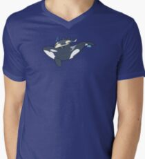 Orca mother and calf Men's V-Neck T-Shirt