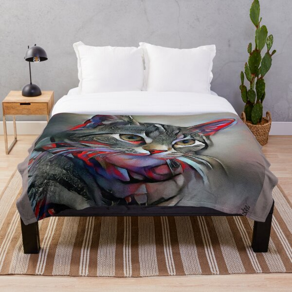 Herby, cat, cat, chat, lea roche paintings Throw Blanket