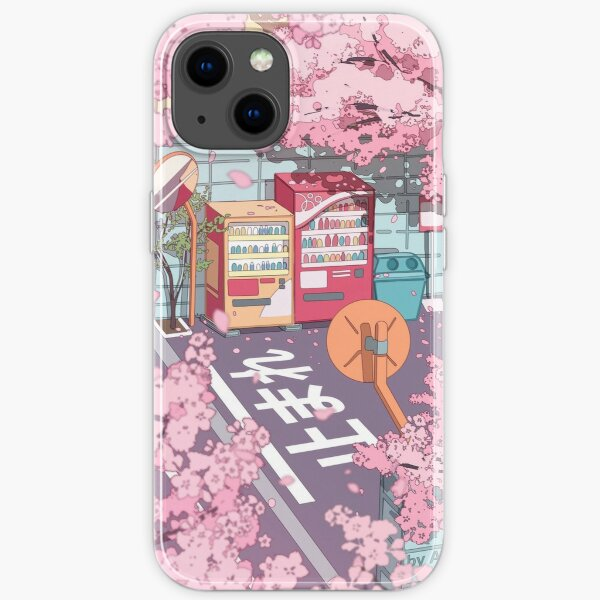 A beautiful aesthetic Tokyo street and  the pink sakura tree blossom iPhone Soft Case
