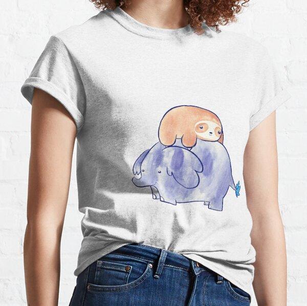 Little Sloth und Elefant Aquarell Classic T-Shirt