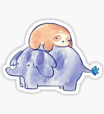 Little Sloth and Elephant Watercolor Sticker