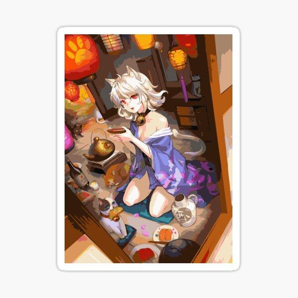 Amante de la niña gato de Japón Pegatina