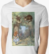 Vintage famous art - Alice In Wonderland - The Cheshire Cat Mens V-Neck T-Shirt