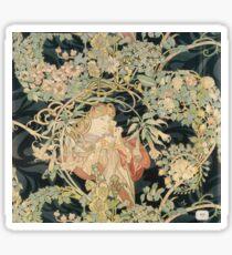 Alphonse Mucha - Woman In La Marguerite 1899  Garden,woman, love, dress,  birthday, fashion, spring, summer, peonies, pink,  beauty Sticker