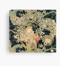 Alphonse Mucha - Woman In La Marguerite 1899  Garden,woman, love, dress,  birthday, fashion, spring, summer, peonies, pink,  beauty Canvas Print