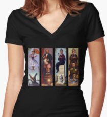 Haunted mansion all Characthers Women's Fitted V-Neck T-Shirt