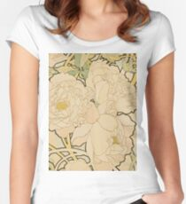 Alphonse Mucha - Peonies 1897  Garden, love, dress, fashion,spring, summer, peonies, pink, blossom, beauty Women's Fitted Scoop T-Shirt