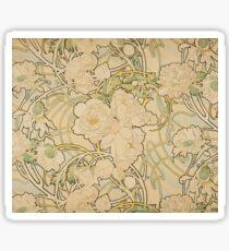 Alphonse Mucha - Peonies 1897  Garden, love, dress, fashion,spring, summer, peonies, pink, blossom, beauty Sticker