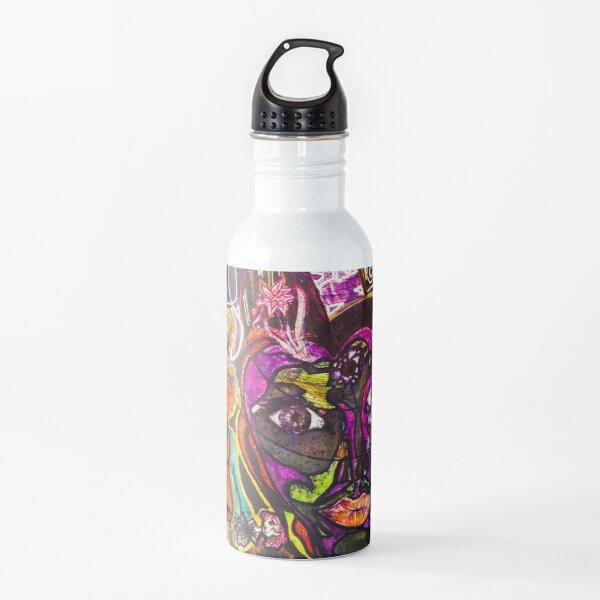 "Colorful Dark Abstract Graphic, ""Faces"" Water Bottle"