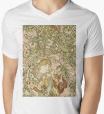 Alphonse Mucha - Lady With Daisy 1898 Mens V-Neck T-Shirt