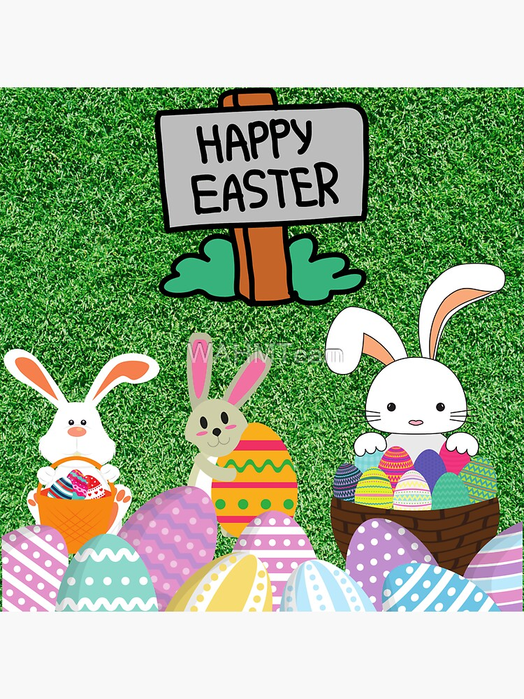 Happy Easter, Easter Bunnies with Easter Eggs by WAHMTeam
