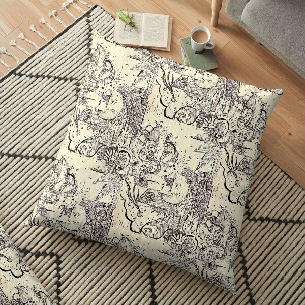 Line Art Abstract  Floor Pillow