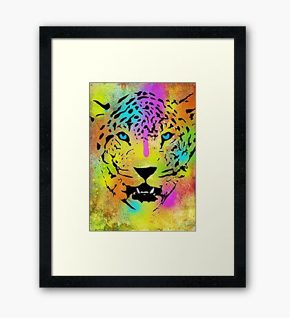 POP Tiger - Colorful Paint Splatters and Drips - Stained Canvas Art  Framed Print