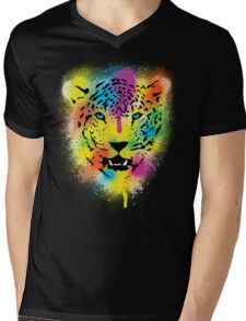 POP Tiger - Colorful Paint Splatters and Drips - Stained Canvas Art  Mens V-Neck T-Shirt