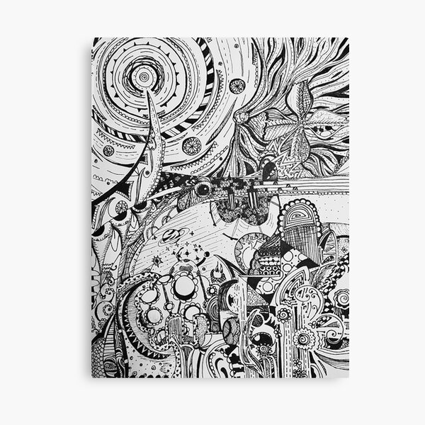 Earth and Space Line Art Black and White Canvas Print
