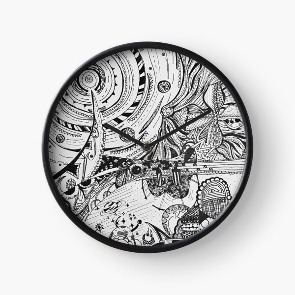Earth and Space Line Art Black and White Clock