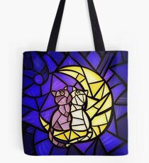 Moon Kitties Stained Glass Tote Bag