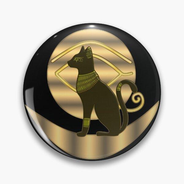 Egyptian cat goddess Bastet and ancient sun and moon symbol of royalty Pin