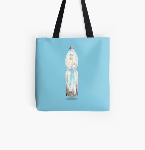 Heilige Reliquie der Maria Muttergottes von Lourd hermetic lockdown in a PET-bottle by Leo Haz Allover-Print Tote Bag