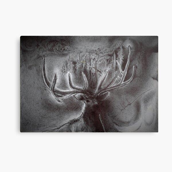 """""""Outdoor Elk Silhouette"""" Metal Print"""
