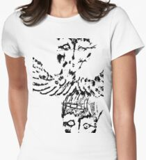 Black & White Abstract Angels Women's Fitted T-Shirt
