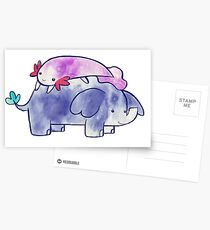 Axolotl and Little Elephant Watercolor Greeting Card
