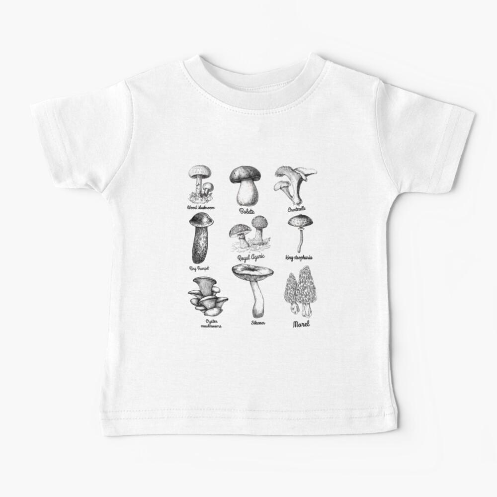 Mushroom Mycology Fungi Foraging love chart Gift, Mycology Mushroom identification Baby T-Shirt