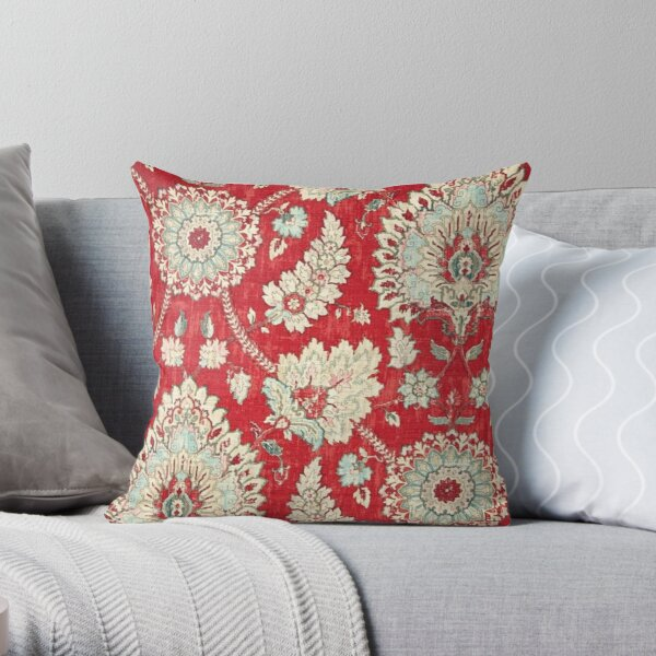 Floral, Brocade, Tapestry, Bold Red Gold Moroccan Print Throw Pillow