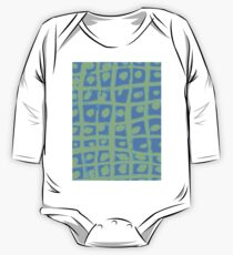 Modern Blue and Green Square Print One Piece - Long Sleeve