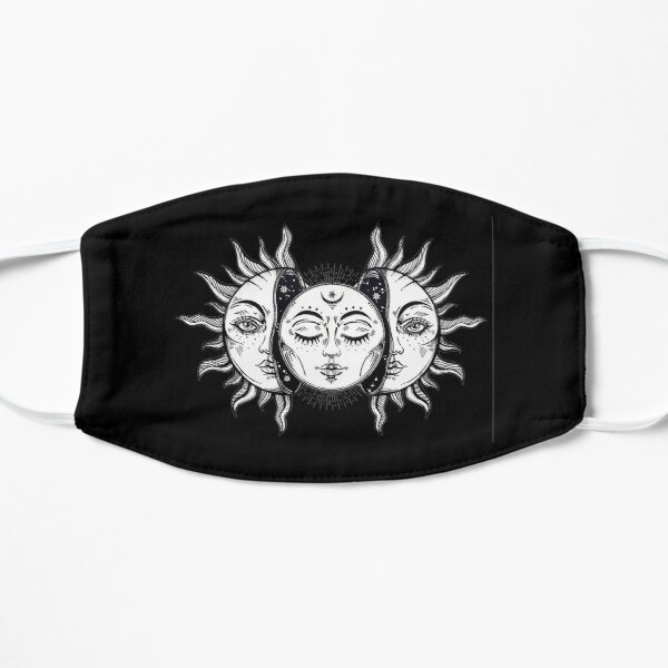 Vintage Solar Eclipse Sun and Moon Flat Mask