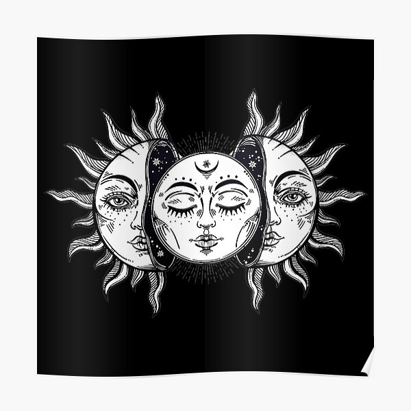 Vintage Solar Eclipse Sun and Moon Poster