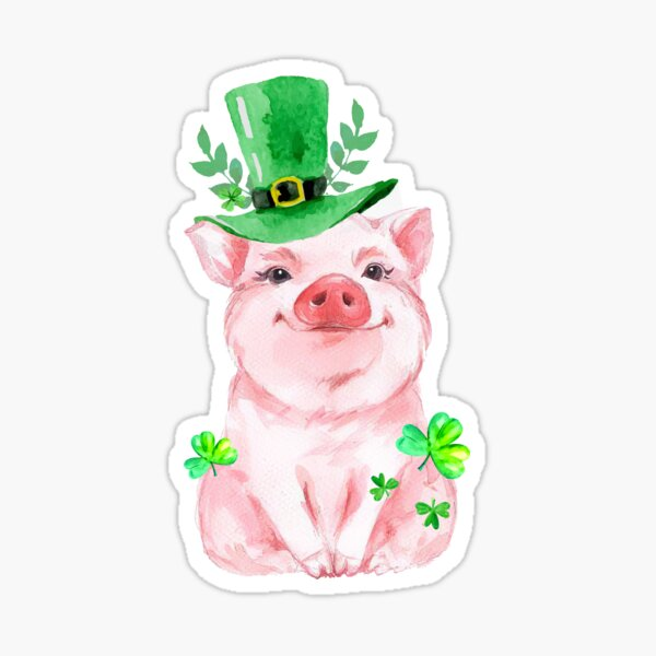 Funny Pig Shamrock St Patricks Day  Sticker