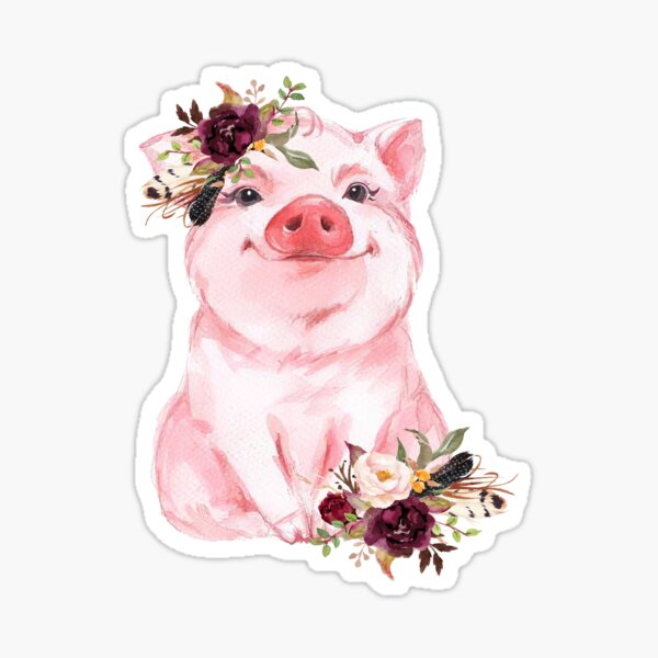 Cute Funny Pig Boho Flower Sticker