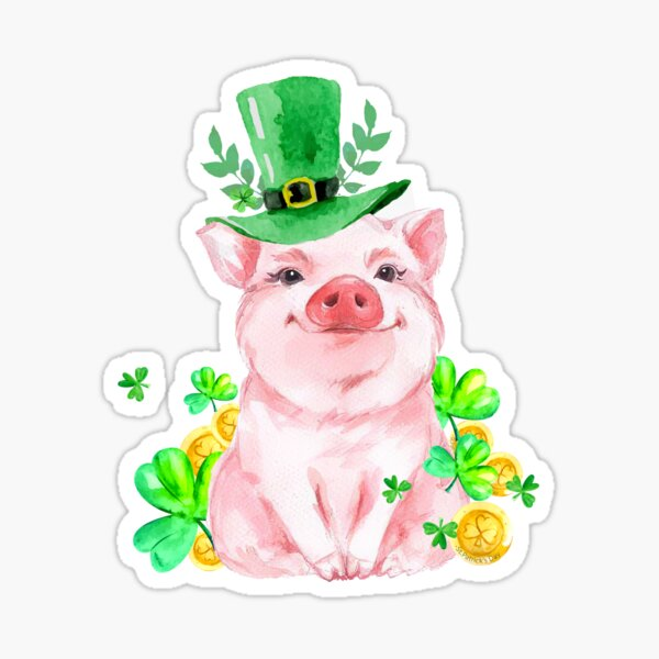 Cute Funny Pig Shamrock St Patricks Day  Sticker