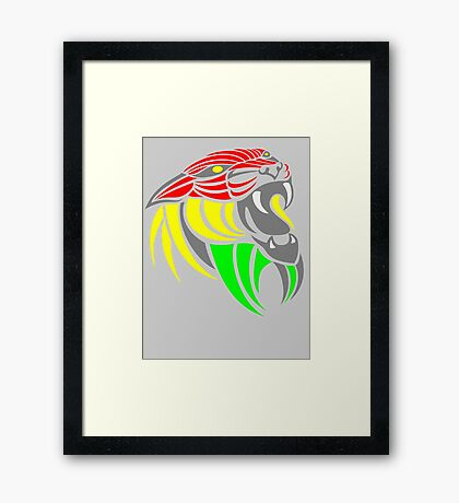 Reggae Music Cool Lion Reggae Colors T Shirts and Stickers Framed Print