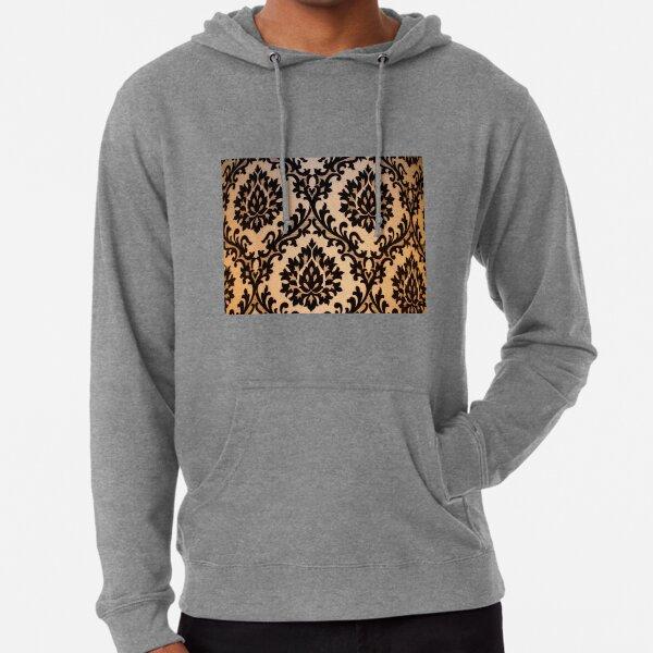 Black and Gold Damask Pattern Merchandise Lightweight Hoodie