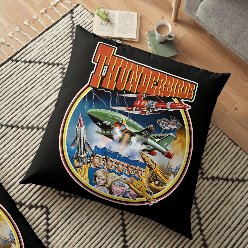 Retro Vintage Thunderbirds T-Shirt Floor Pillow