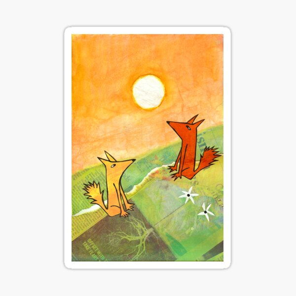 two dogs on a green hill Sticker