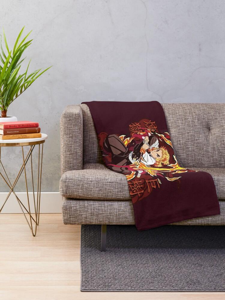 Alternate view of Rengoku Kyojuro Fire - Kimetsu No Yaiba Throw Blanket