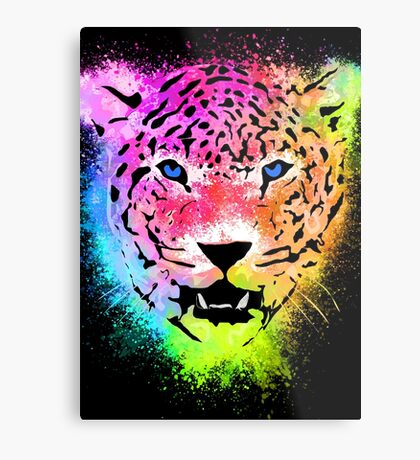 Tiger - Colorful Paint Splatters Dubs Metal Print