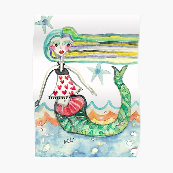 Mermaid with Hearts, starfish, Beach art Meloearth Poster