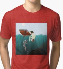 Darwin meets a marine iguana Tri-blend T-Shirt