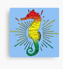 Seahorse with Reggae Music Flag Colors! Canvas Print