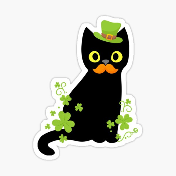 Cute Funny Black Cat Shamrock St Patricks Day  Sticker
