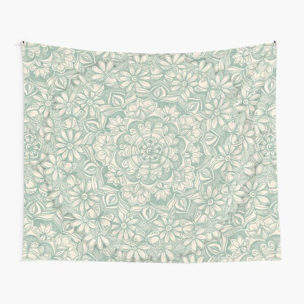 Sage Medallion with Butterflies & Daisy Chains Tapestry